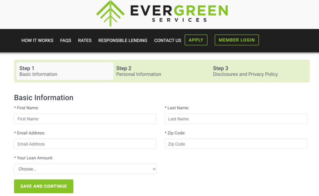 evergreen services application